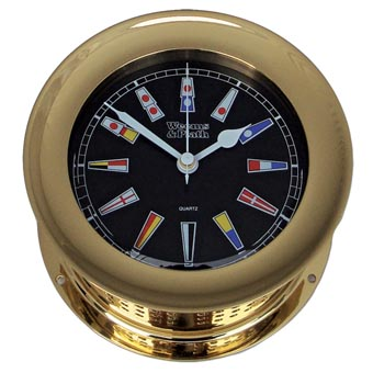 Atlantis Quartz Clock, Black Dial w/ Color Flags