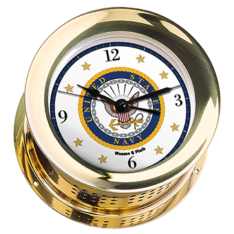 U.S. Navy Atlantis Quartz Ship's Bell Clock - #7 Emblem